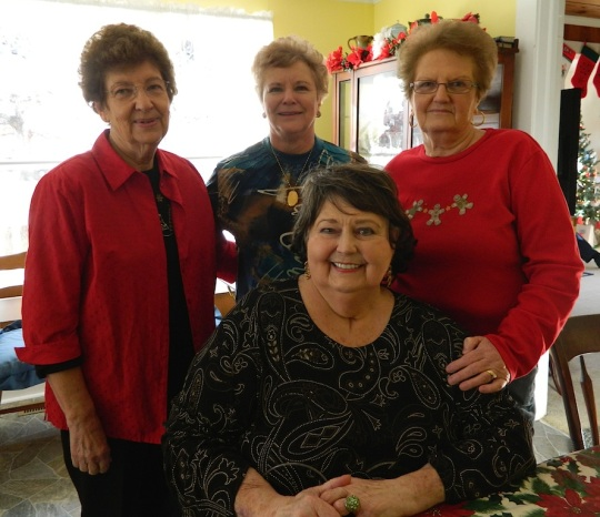 Louise with the Bray sisters-in-law she loved so much--Christmas Eve 2013.